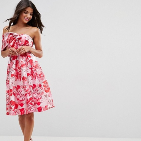 f24f895a88ee7 ASOS Dresses & Skirts - ASOS One Shoulder Bow Midi Prom Dress in Floral